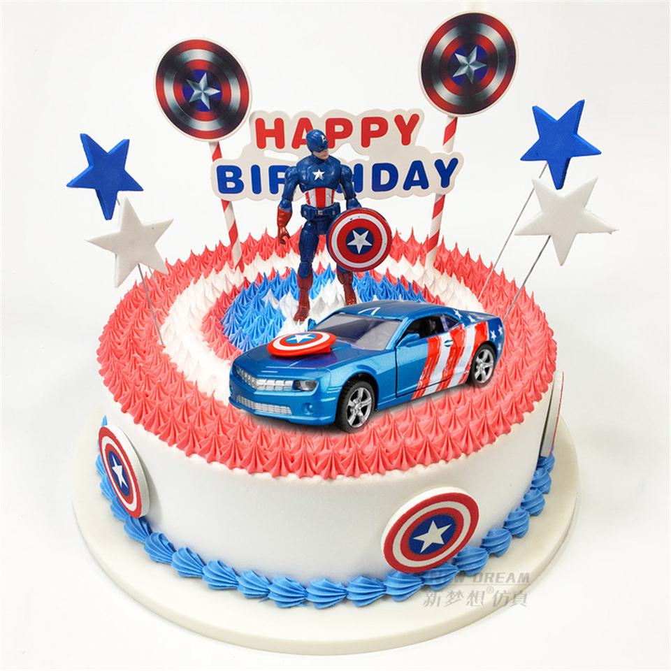 Fantastic Cake Topper Captain America Car Toys For Children Birthday Boy Funny Birthday Cards Online Inifofree Goldxyz