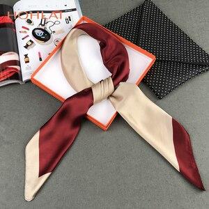 Image 4 - 2018 neue Winter Einfachen Quadratischen Schals Für Damen Männlichen Neue Candy farben Silk Schal 90*90cm Herbst Seide schalldämpfer Muslimischen Kopftuch
