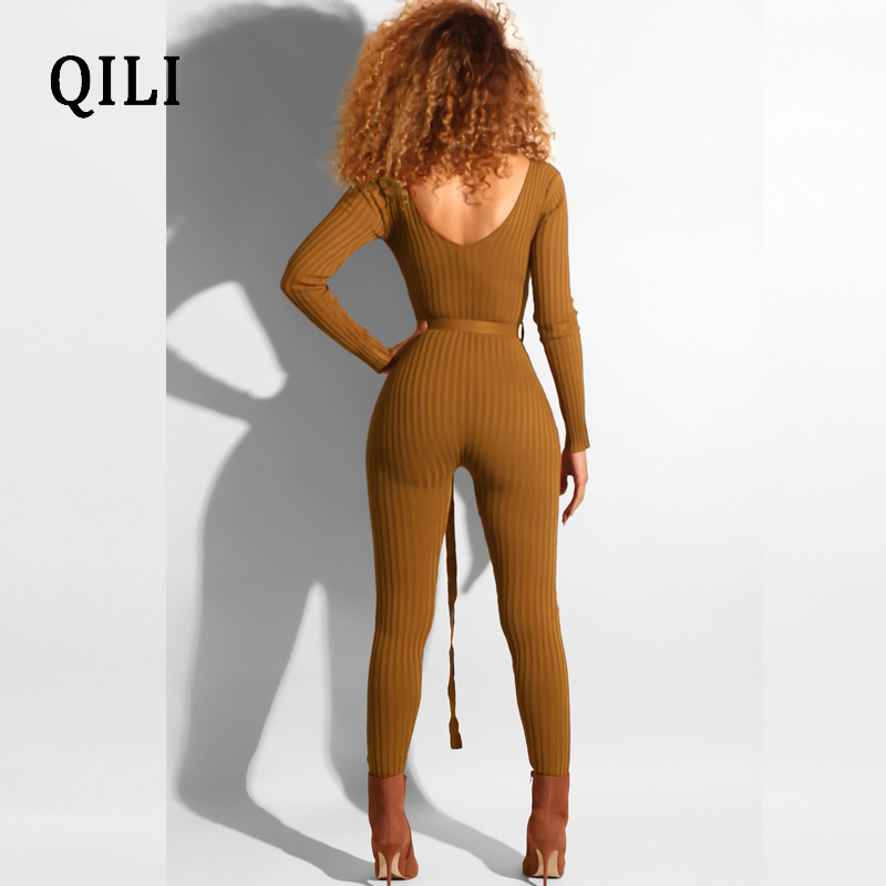 QILI High Stretchy Pit Jumpsuits Women Casual Overalls Long Sleeve Bodycon Jumpsuit Romper Autumn Woman With Belted Jumpsuits in Jumpsuits from Women 39 s Clothing