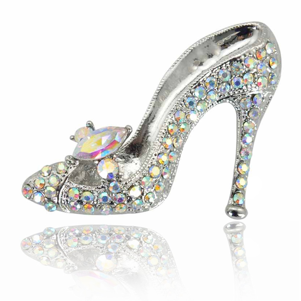 Cinderella Glass Slipper Sexig Ung Lady Crystal High Heel Desgin Brosch Stift För Kvinnor 2018