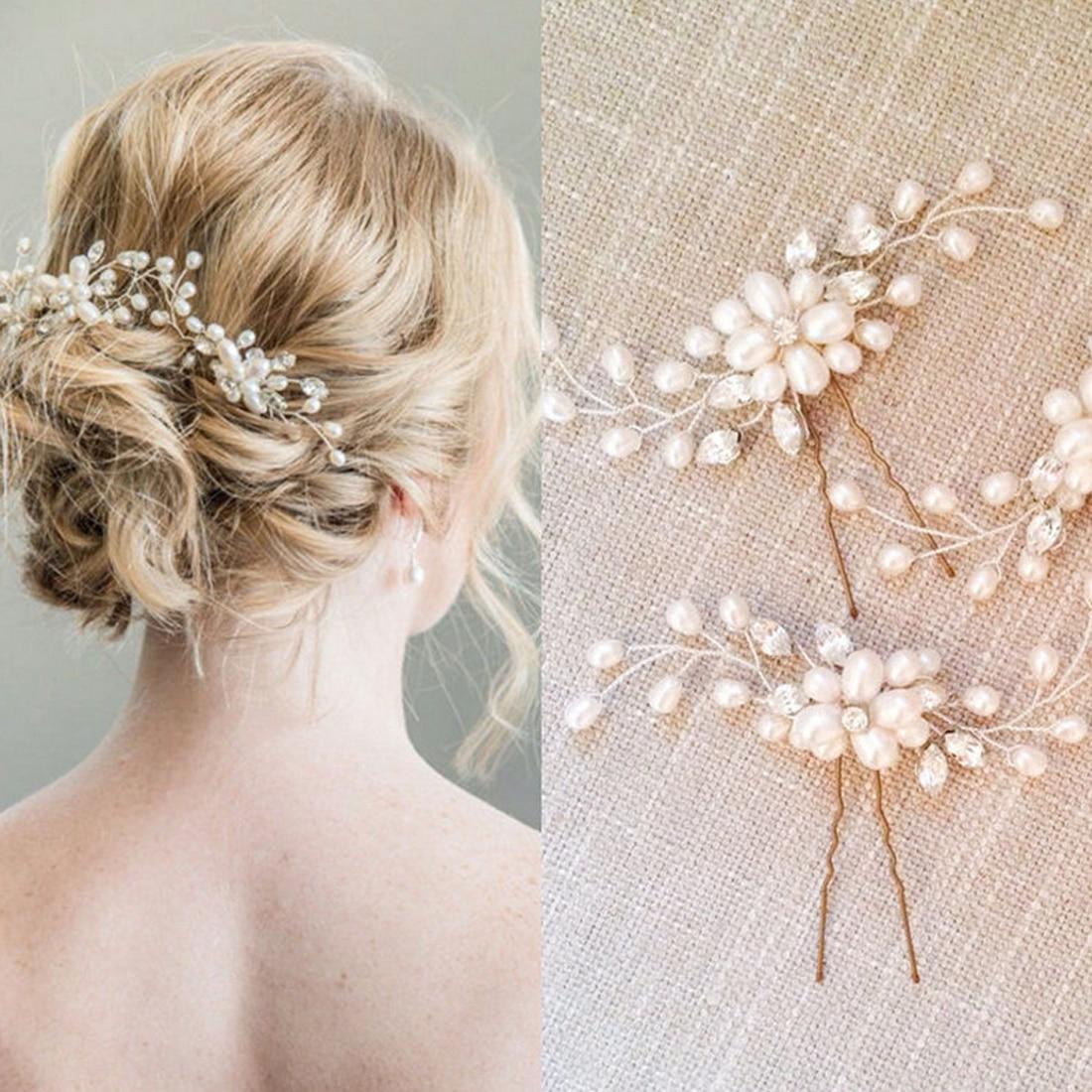 Crystal Hair Pin Vintage Wedding Bridal Pearl Flower  Hair Clip U-shaped Clips Pins Bridesmaid Gift Hairdressing Stylist Tool