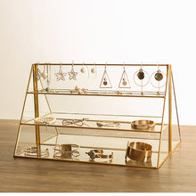 1 PC Brass Glass Three-tier Display Jewelry Bracelet Earrings Counter Shelf Cosmetics Storage(China)