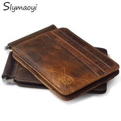 Slymaoyi 2017 Retro Cow Leather Wallet Men Money Clips Quality Cowhide Cards Clutch Wallets Women Housekeeper Clutch Purse