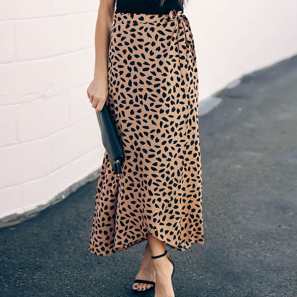 Leopard Print Travel Shopping Summer Slim Daily Drawstring Beach Soft Casual Polyester Sexy High Waist Women Skirt