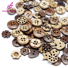 Lucia crafts 48pcs/lot 10-15mm Coconut Wooden Buttons Assorted DIY Sewing Scrapbooking Button Accessories D13010001(10-15H48)(China)