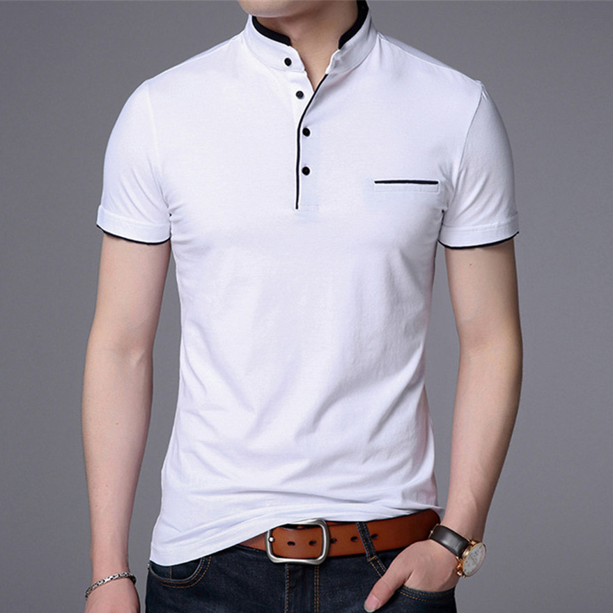 Men   Polo   Shirts Short Sleeve Solid   Polo   Shirt Mens Camisa   Polos   Fashion Stand Collar Masculina Casual Cotton Tops Plus Size M-4X