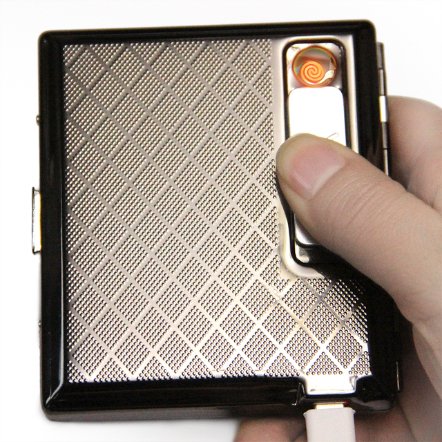 Metal Cigarette Box Case with Rechargeable Windproof Flameless Electronic USB Cigarettes Lighter