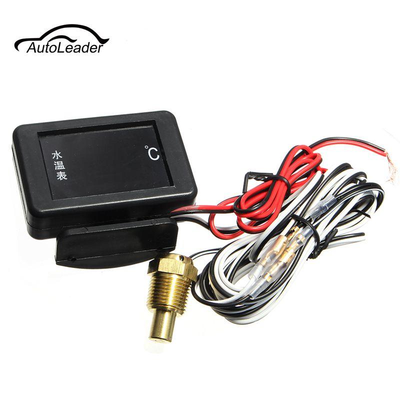 1set 12V/24V DC Digital LED Car Water Temperature Gauge 17mm Universal Sensor And Cable + Probe