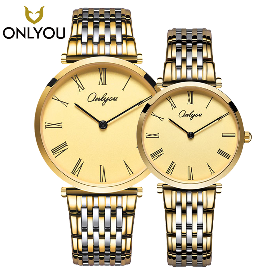 ONLYOU Relogio Feminino Clock Luxury Brand Women Watch Stainless Steel Watches Ladies Fashion Casual Men Watch Quartz Wristwatch onlyou luxury brand fashion watch women men business quartz watch stainless steel lovers wristwatches ladies dress watch 6903