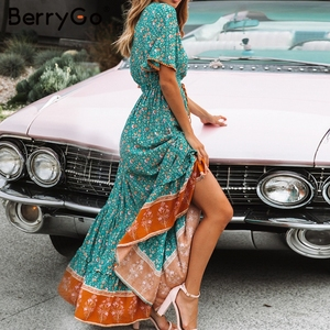 Image 3 - BerryGo vestiti dalle donne Della Boemia abiti di stampa vestito da estate manica Corta increspato lungo maxi vestito con scollo a v con coulisse signore abiti