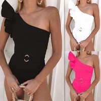 FXBIKINY Women Swimsuit New One-Shoulder Ruffle Bikini One-Piece Swimsuit Solid Bathing Suit Beachwear Maillot De Bain Femme