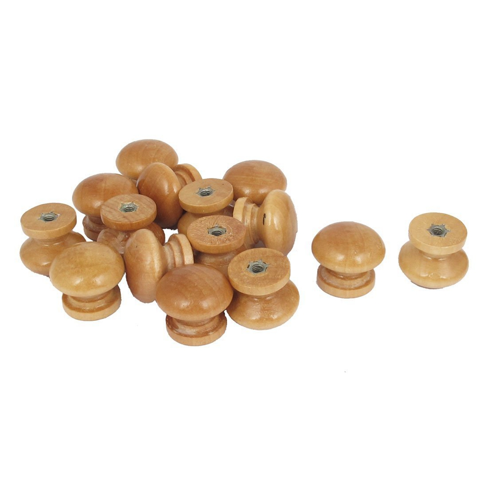 Home Cabinet Cupboard Drawer Round Shaped Wooden Pull Knob Beige 15Pcs