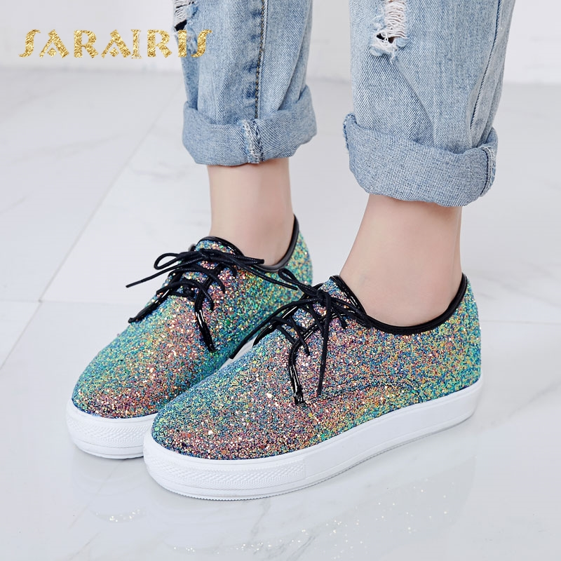 SaraIris Women's Glitter Upper Lace Up Casual Sneakers Woman Round Toe Comfortable Vulcanize Shoes