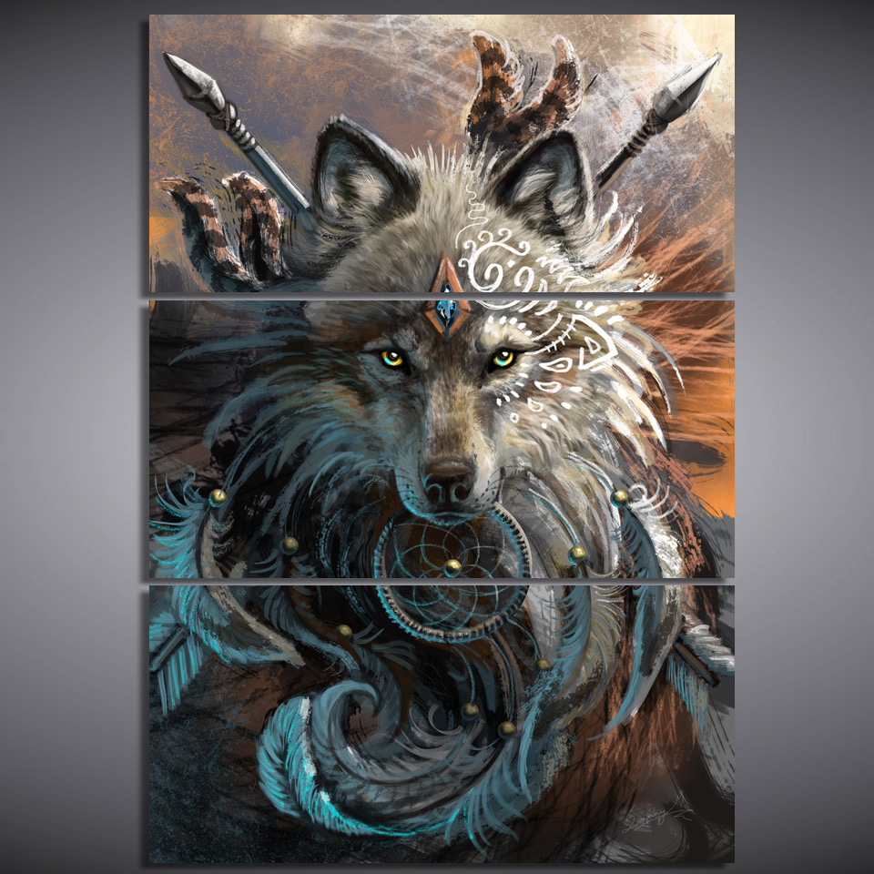 JIE NE ART HD Imprimer 3 Toile Art Native American Indian Loup et Plume Loup Guerrier