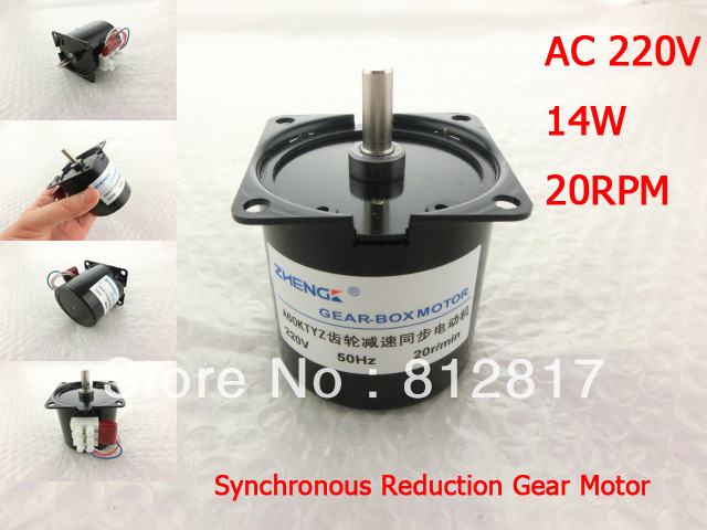 60mm Body Dia 7mm Shaft Ac 220v 20rpm Synchronous