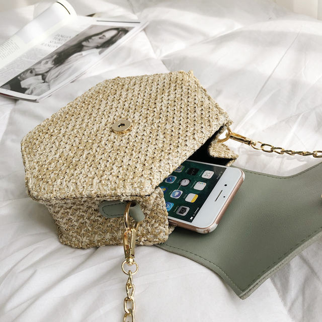 Hexagon Straw + Leather Crossbody Bags 5