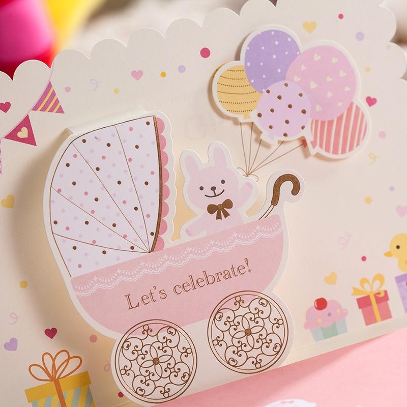 10pcs/lot) Lovely Pink And Sky Blue 3D Pop Up Birthday Invitation ...