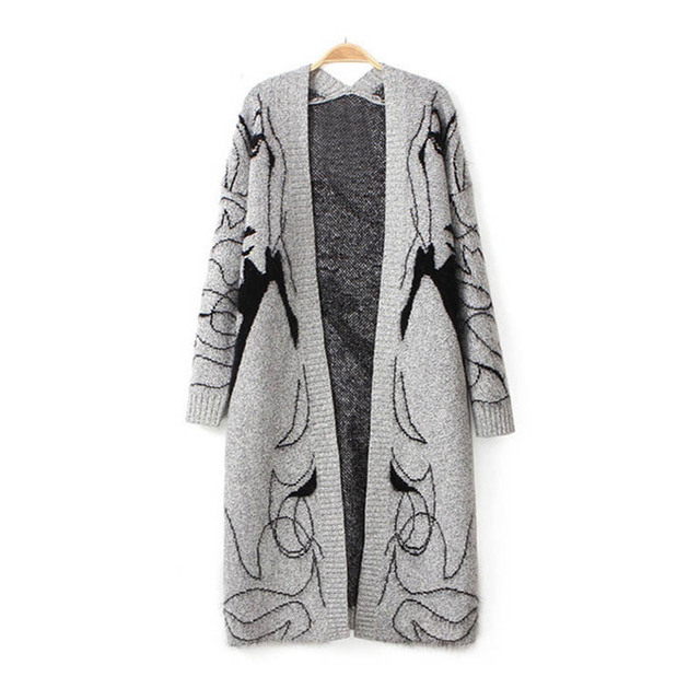 Autumn New Long Section Of Loose Bat Sleeve Women Sweater Knit Cardigan  Jacket Women 69e777c06