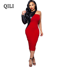 QILI Women One Shoulder Party Dress Black Red Patchwork Elegant Lady Bodycon Dresses New 2019 Spring