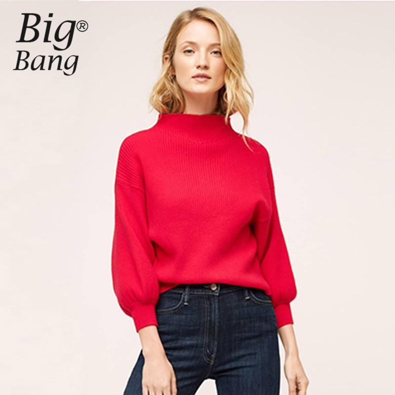 Elegant Women Sweaters 2017 Spring Stand Collar Vintage Pullovers ...