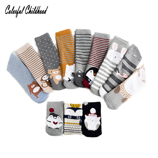 c193938a9722 3 Pairs Lot Winter Warm Baby Socks Suit for little girls Cartoon Fox ...