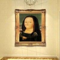 Tela A Mano da Da Vinci Mona Lisa Cartoom giclée Immagine su tela famosa riproduzione della pittura a olio di alta qualità