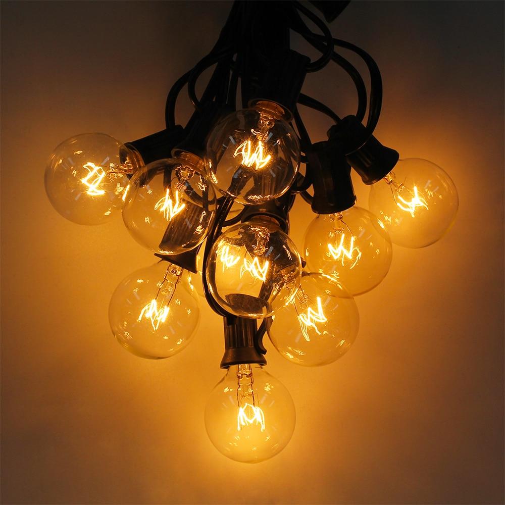 cordas g40 globo luzes da corda com 25 lampadas claras 25ft ul alistado para decoracao de