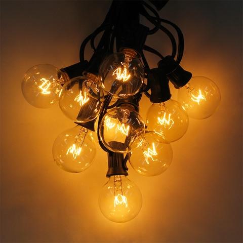cordas g40 globo luzes da corda com 25 lampadas claras 25ft ul alistado para decoracao