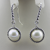 925 Silver Jewelry Natural White freshwater pearl Champagne Pearl Cable Wrap Drop Earrings Design Jewelry Mother's Day Gifts