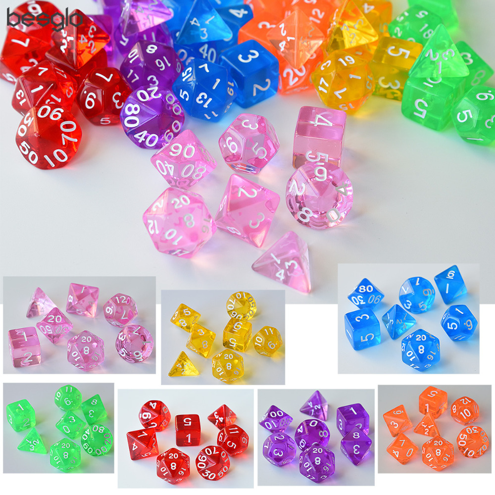 7 Die Translucent Polyhedral Dice For Dungeons And Dragons Shadowrun Pathfinder Savage World Warhammer And RPG Games