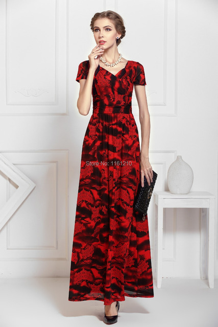New Womens Red Celeb Long Evening Party Gown Cap Sleeved Sexy V Neck Formal Dress  Maxi 092687b97d3b