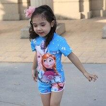 DROZENO/комплект из двух предметов; купальный костюм для маленьких девочек; купальный костюм Эльзы, Анны, Софии; Детский комплект бикини; детский купальный костюм с героями мультфильмов