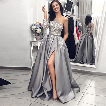 Grey Satin Evening Dresses 2020 A-Line Sexy Split White Lace Long Prom Party Dresses with Pockets One Shoulder Long Sleeves
