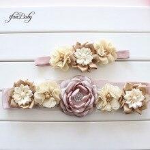 Модный цветочный пояс с повязкой на голову, свадебный пояс для девочек и женщин