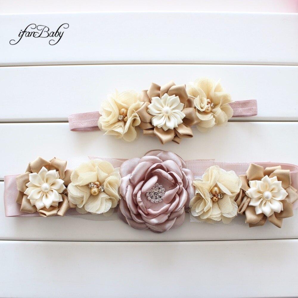 Cinto de flores com faixa de cabeça, cinto de flores da moda com faixa