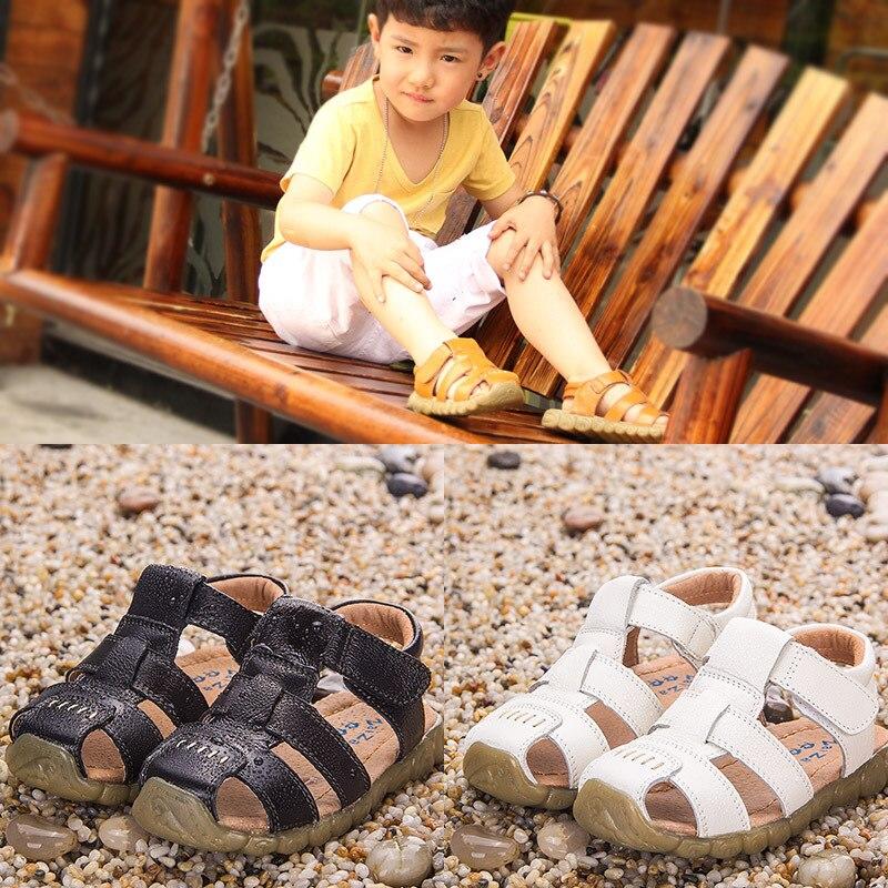 2018 Chłopięce miękkie skórzane sandały z krową muszką na - Obuwie dziecięce - Zdjęcie 2