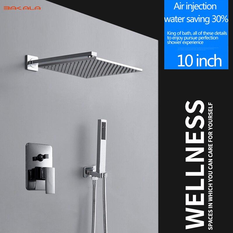 BAKALA 10 Rainfall Shower Head System Polished Chrome Bath Shower Faucet Bathroom Rain Mixer Shower Combo Set Wall Mounted