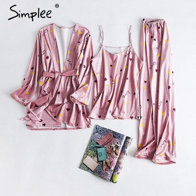 Simplee Corail velours trois pièces pyjama Automne hiver 2018 plus la taille des vêtements de nuit occasionnel doux pyjamas Femmes rose pyjamas femme