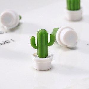 Image 3 - 6 adet/takım sevimli kaktüs etli bitki buzdolabı mıknatısı düğmesi buzdolabı mesaj Sticker çocuk hediye buzdolabı aksesuarları