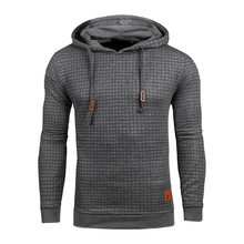 Drop Shipping Plaid Hoodies Men Long Sleeve Solid Color Hooded Sweatshirt Male Hoodie Casual Sportswear US Size Free Shipping(China)