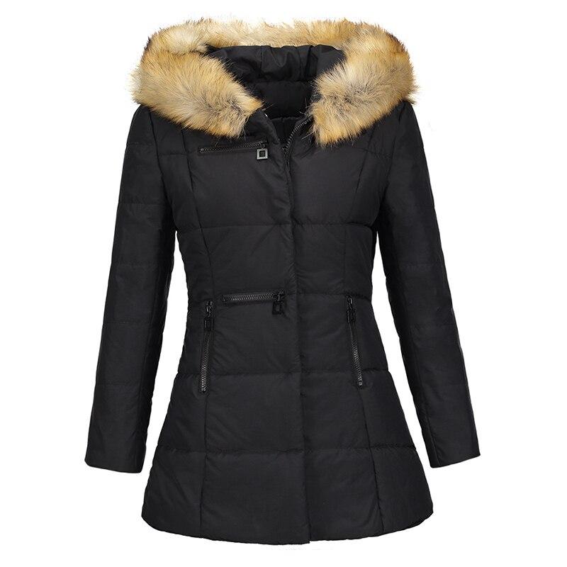 Женское пальто теплое ветрозащитное зимнее осень большой меховой воротник верхняя одежда 2 цвета на молнии тонкое пальто утепленная Весенн...