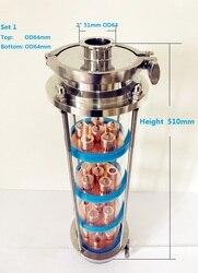 Envío gratis 4 columna de lente de destilación con 4 Uds juegos de placas de cobre, Unión de vidrio de triple abrazadera de acero inoxidable 304