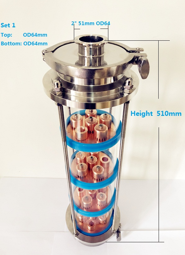"Free Shipping 4"" Distillation Lens Column With 4pcs Copper Platte Sets,Tri-Clamp Sight Glass Union Stainless Steel 304"