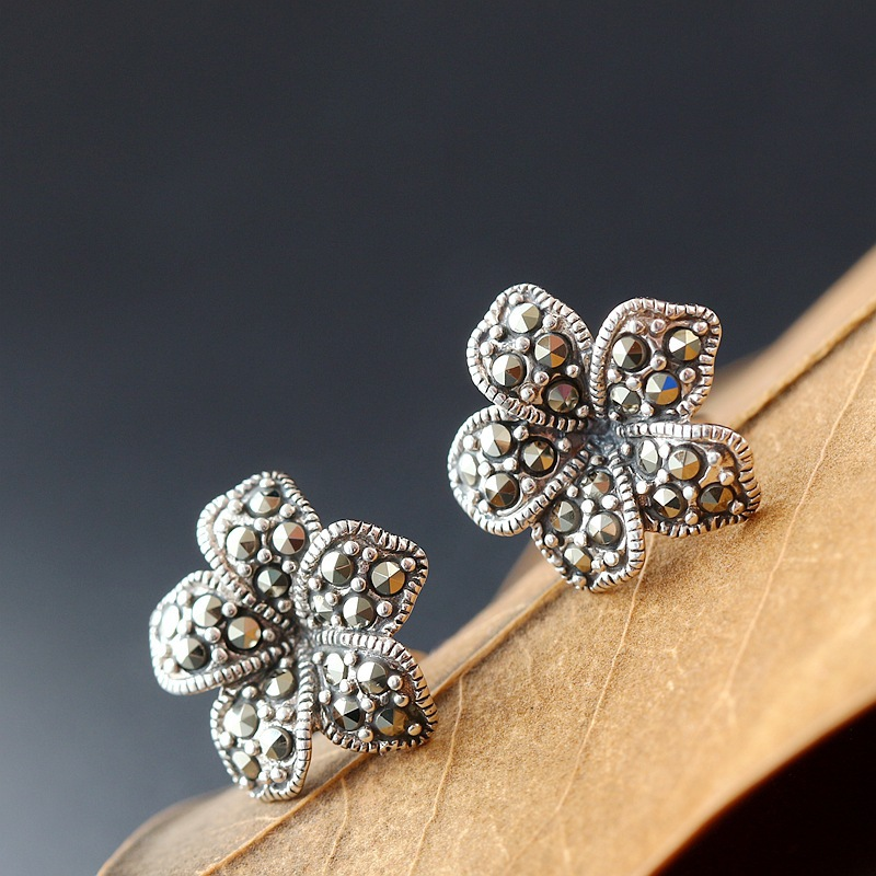 Ecoworld Ge jewelry wholesale S925 pure Tremella nail set Marcasite Shitai Tremella nail manual petal Earrings