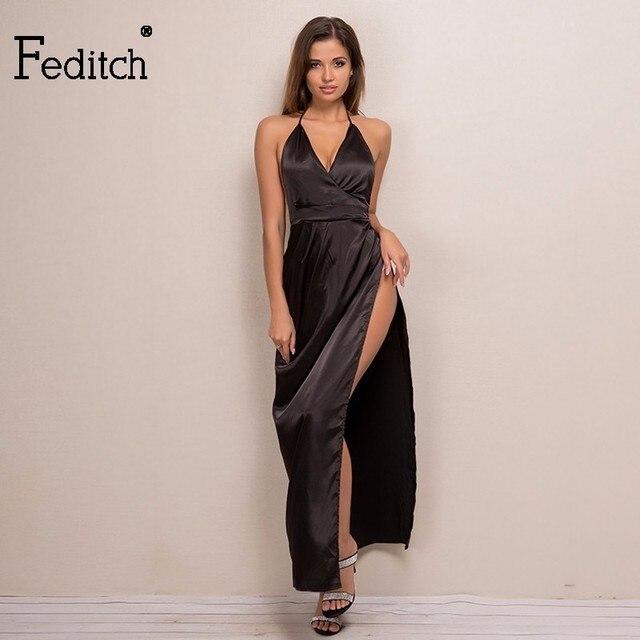 20ac6c8be54d6c Feditch Elegante Vrouwen Sexy Satijn Maxi Lange Jurk Spaghetti Sexy V-hals  Satijnen Jurk Bodycon
