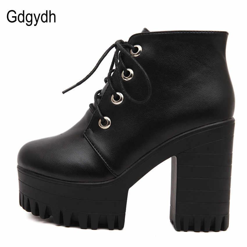 Gdgydh marka tasarımcıları 2020 yeni bahar sonbahar kadın ayakkabı siyah yüksek topuklu çizmeler bağlama platformu yarım çizmeler tıknaz topuk deri