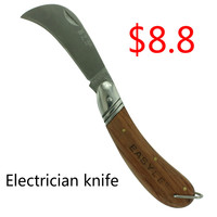 Wooden Handle Electrician Knife Stripping Wire Cutter Scissors Scimitar Stainless Electric Tools