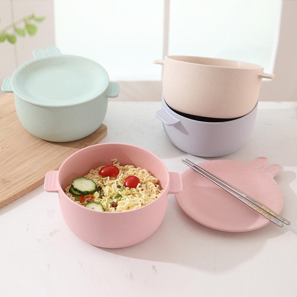 Mangkuk Jerami Gandum Peralatan Makan Wadah Untuk Mie Instan Anak