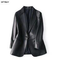 Из натуральной овечьей кожи куртка черное пальто бренд 2019 женские офисные блейзер Feminino элегантный блейзер для женщин пиджаки для и куртки