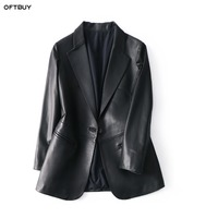 Real Sheepskin Leather Jacket Black Coat Brand 2019 Office Ladies Blazer Feminino Elegant Blazer Women Blazers And Jackets
